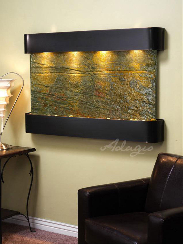 Sunrise Springs - Green Slate - Blackened Copper - Rounded Corners - Soothing Walls