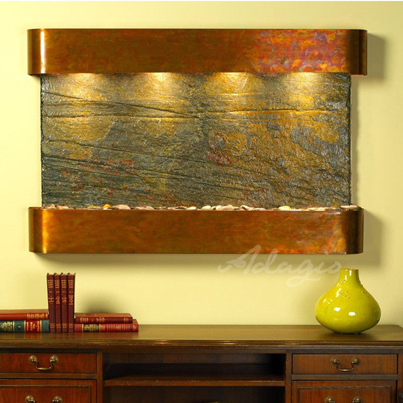 Sunrise Springs - Green Slate - Rustic Copper - Rounded Corners - Soothing Walls