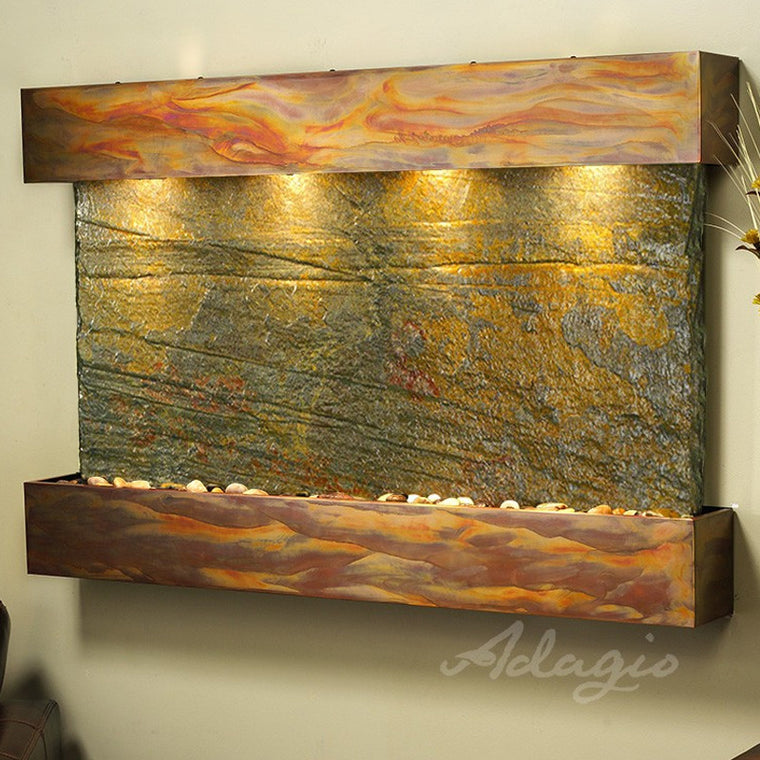 sunrise springs green slate rustic copper squared corners soothing walls