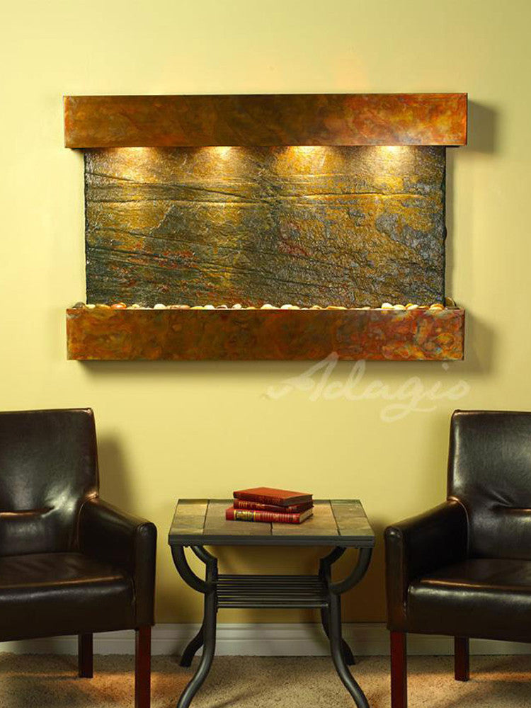 Sunrise Springs - Green Slate - Rustic Copper - Squared Corners - Soothing Walls