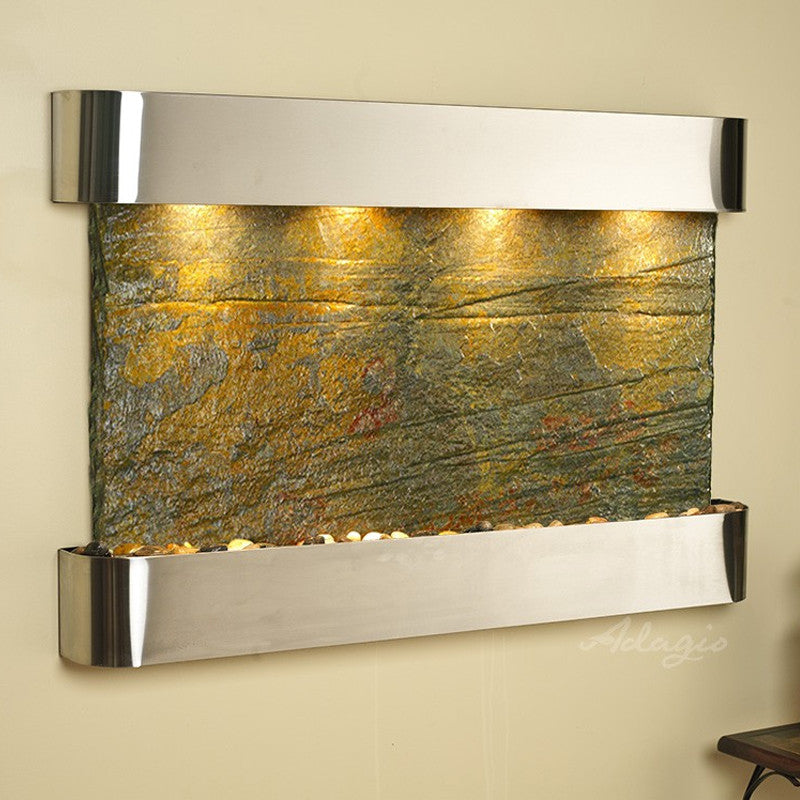 Sunrise Springs - Green Slate - Stainless Steel - Rounded Corners - Soothing Walls