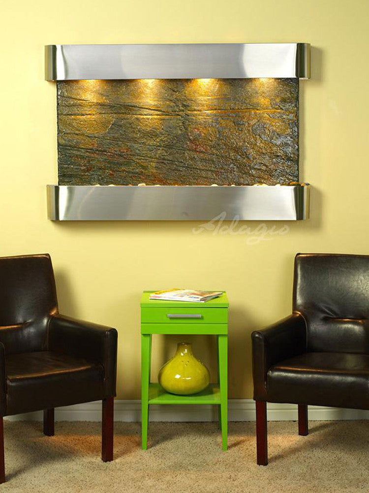 Sunrise Springs: Green Slate and Stainless Steel Trim with Rounded Corners