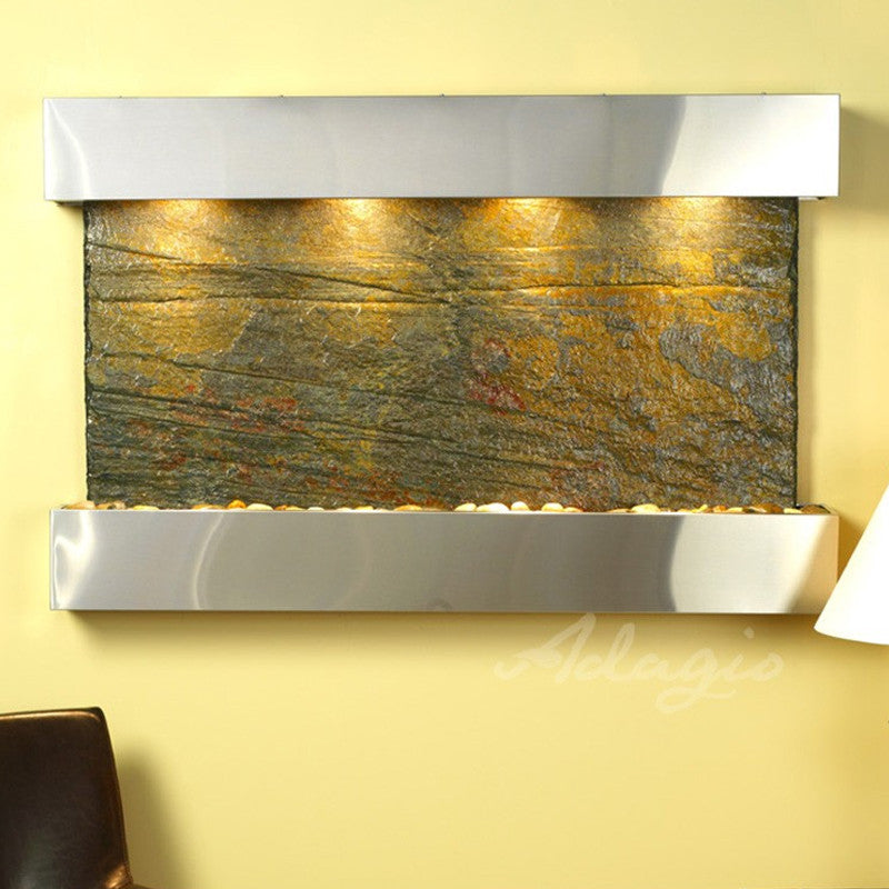 Sunrise Springs - Green Slate - Stainless Steel - Squared Corners - Soothing Walls