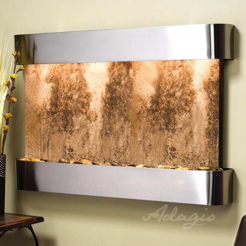 Sunrise Springs - Magnifico Travertine - Stainless Steel - Rounded Corners - Soothing Walls
