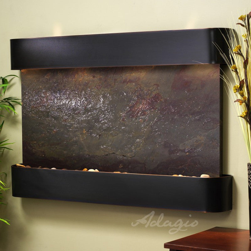 Sunrise Springs - Multi-Color FeatherStone - Blackened Copper - Rounded Corners - Soothing Walls