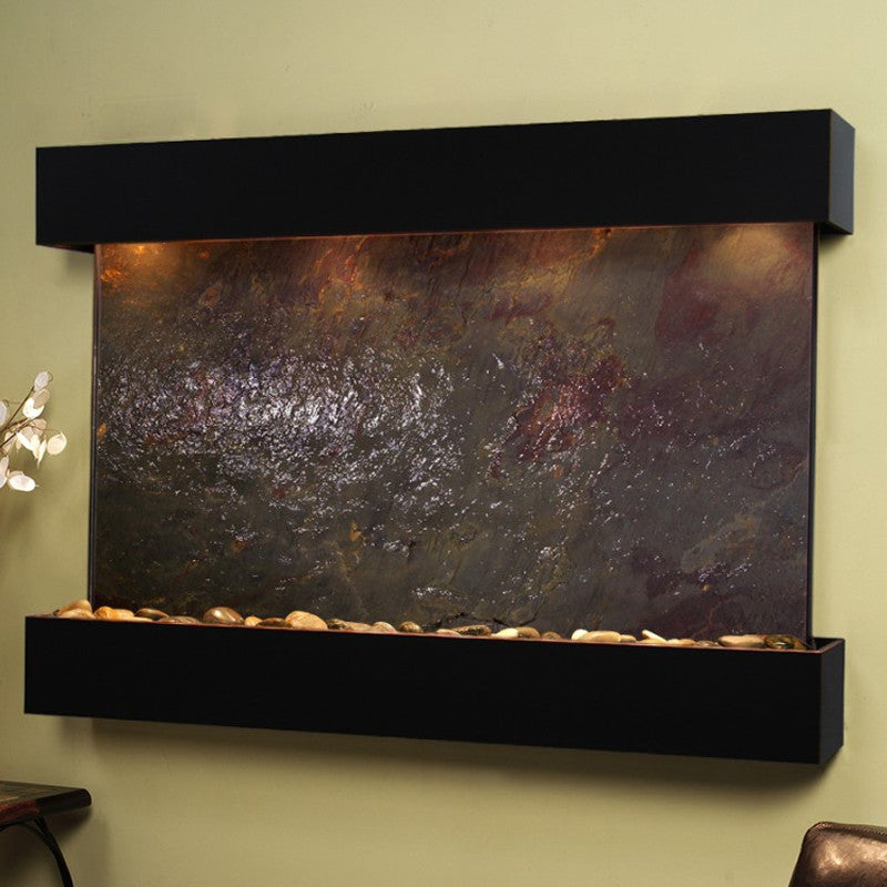 Sunrise Springs - Multi-Color FeatherStone - Blackened Copper - Squared Corners - Soothing Walls