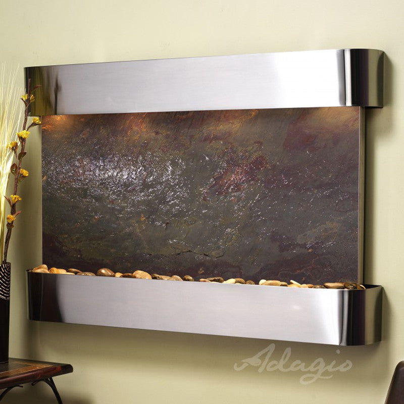 Sunrise Springs - Multi-Color FeatherStone - Stainless Steel - Rounded Corners - Soothing Walls
