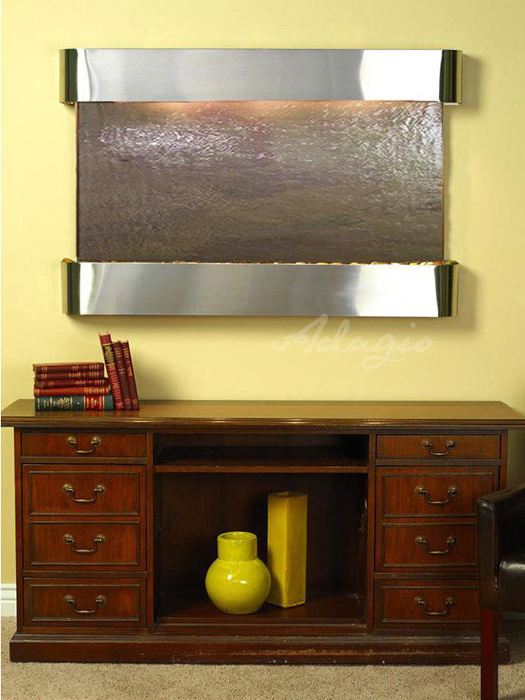 Sunrise Springs: Multi-Color FeatherStone and Stainless Steel Trim with Rounded Corners