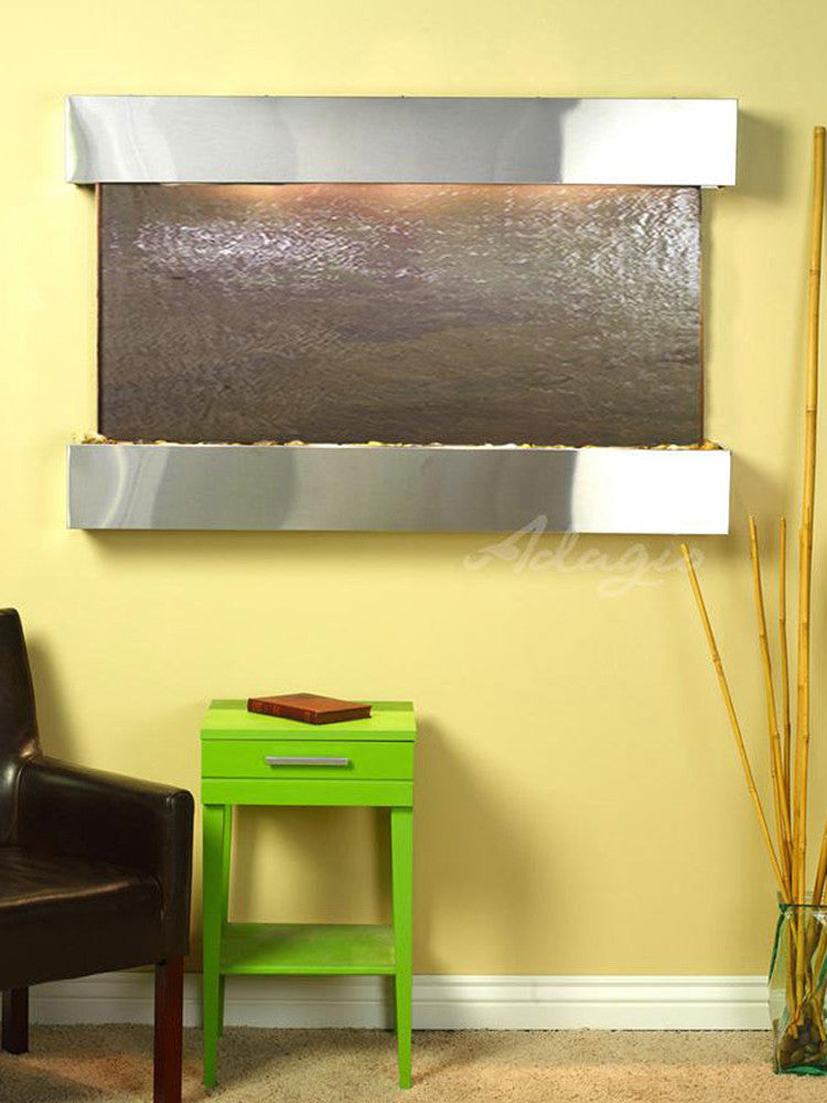 Sunrise Springs - Multi-Color FeatherStone - Stainless Steel - Squared Corners - Soothing Walls
