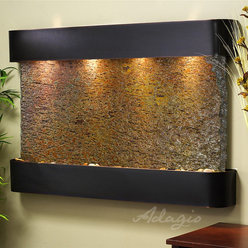 Sunrise Springs: Multi-Color Slate and Blackened Copper Trim with Rounded Corners