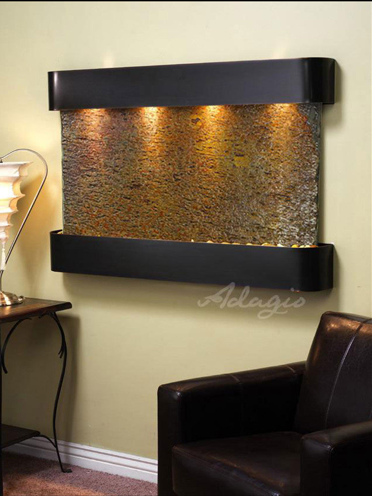 Sunrise Springs - Multi-Color Slate - Blackened Copper - Rounded Corners - Soothing Walls