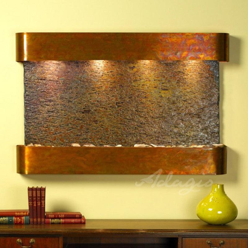 Sunrise Springs - Multi-Color Slate - Rustic Copper - Rounded Corners - Soothing Walls
