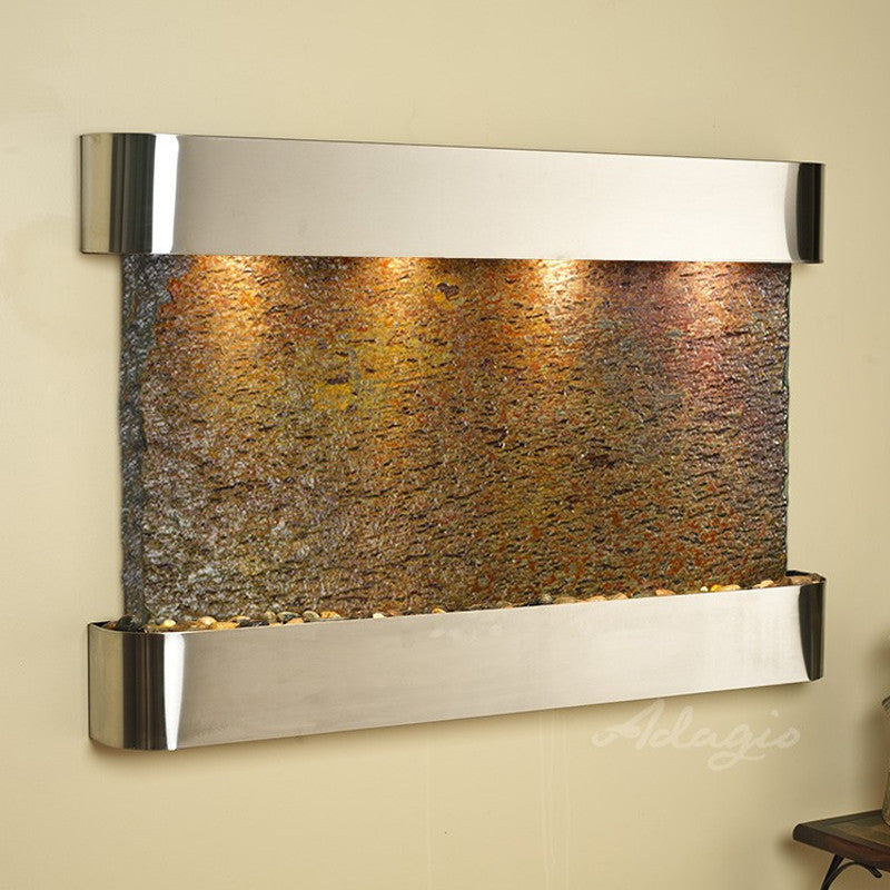 Sunrise Springs: Multi-Color Slate and Stainless Steel Trim with Rounded Corners