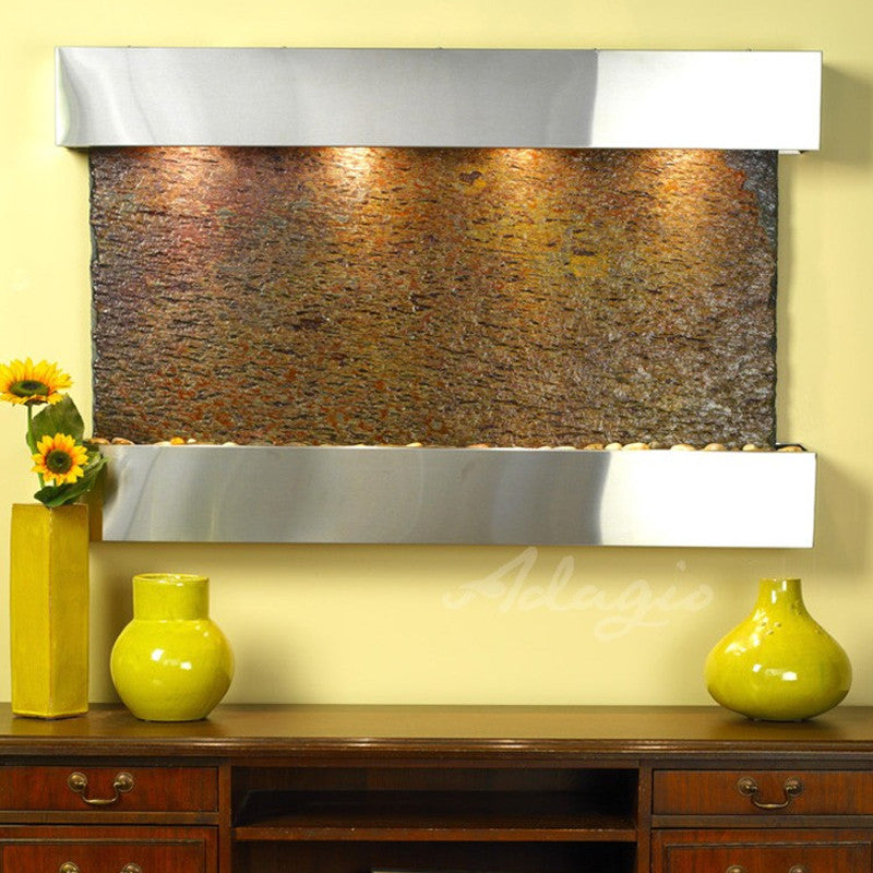 Sunrise Springs: Multi-Color Slate and Stainless Steel Trim with Squared Corners