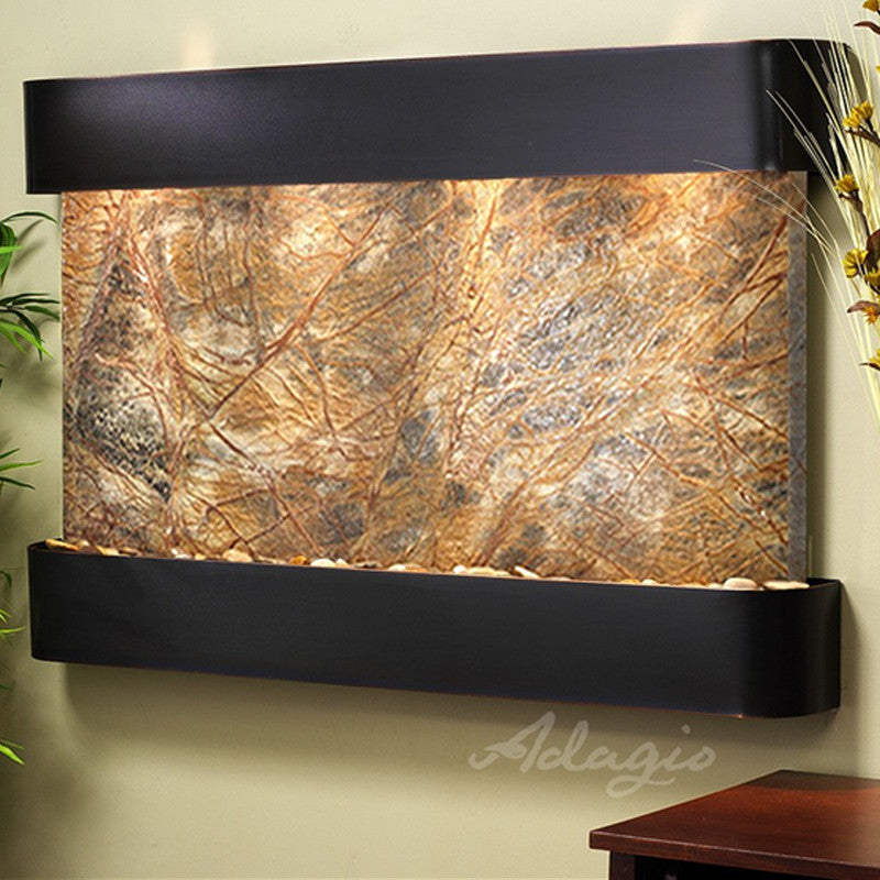 Sunrise Springs - Rainforest Brown Marble - Blackened Copper - Rounded Corners - Soothing Walls
