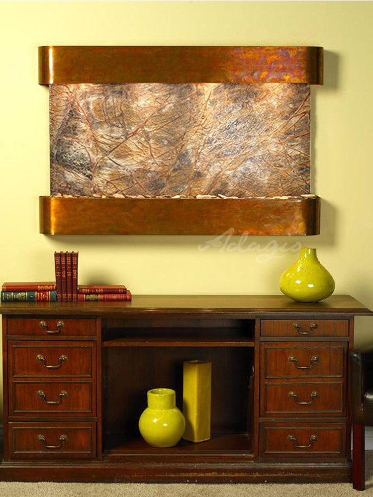 Sunrise Springs: Rainforest Brown Marble and Rustic Copper Trim with Rounded Corners