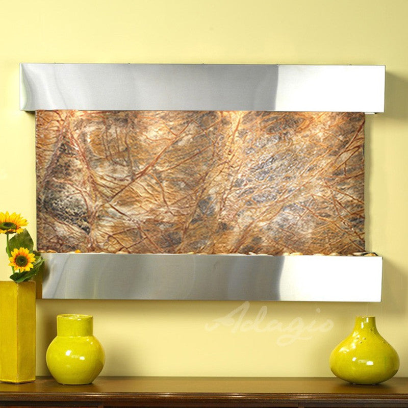 Sunrise Springs - Rainforest Brown Marble - Stainless Steel - Squared Corners - Soothing Walls