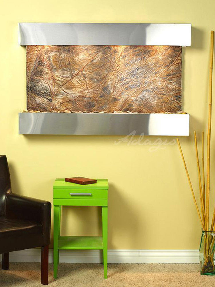 Sunrise Springs: Rainforest Brown Marble and Stainless Steel Trim with Squared Corners