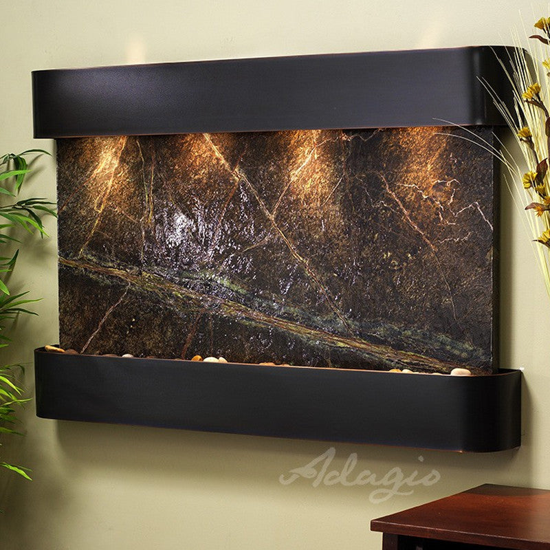 Sunrise Springs: Rainforest Green Marble and Blackened Copper Trim with Rounded Corners