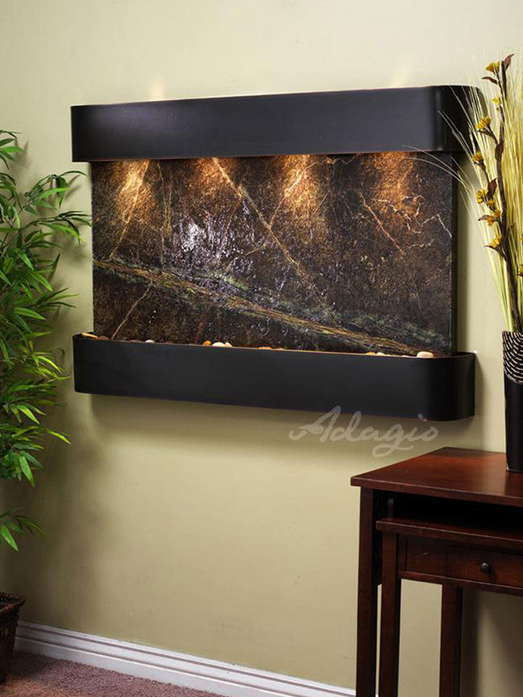 Sunrise Springs - Rainforest Green Marble - Blackened Copper - Rounded Corners - Soothing Walls