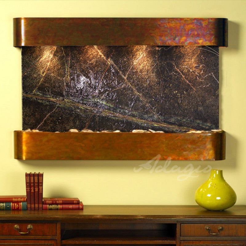 Sunrise Springs - Rainforest Green Marble - Rustic Copper - Rounded Corners - Soothing Walls