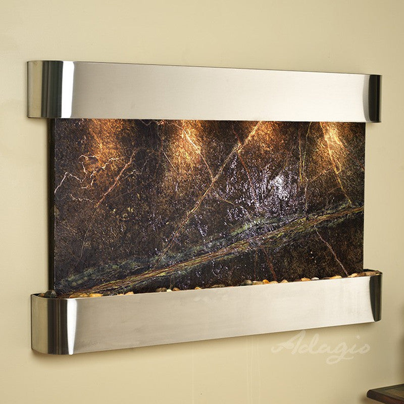 Sunrise Springs - Rainforest Green Marble - Stainless Steel - Rounded Corners - Soothing Walls