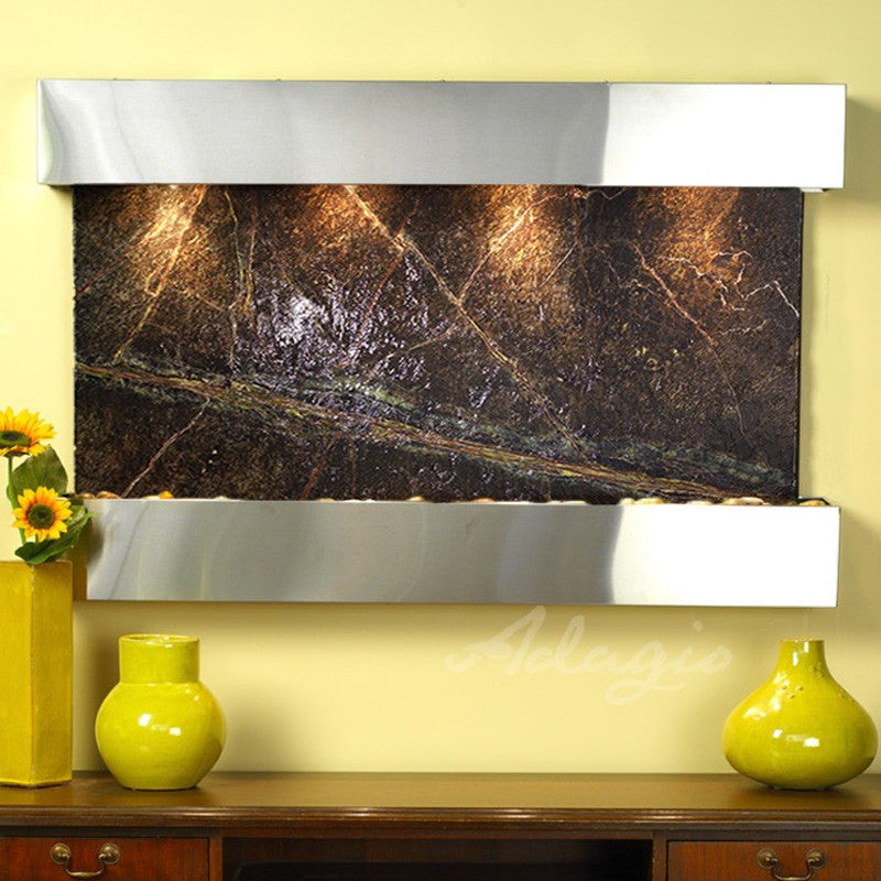 Sunrise Springs: Rainforest Green Marble and Stainless Steel Trim with Squared Corners