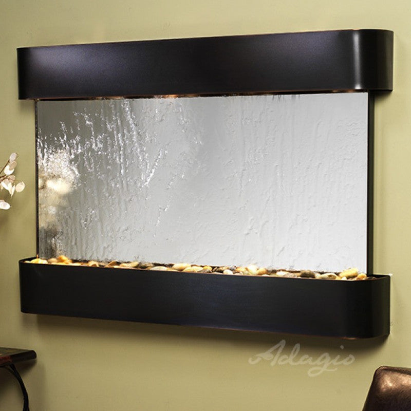 Sunrise Springs - Silver Mirror - Blackened Copper - Rounded Corners - Soothing Walls