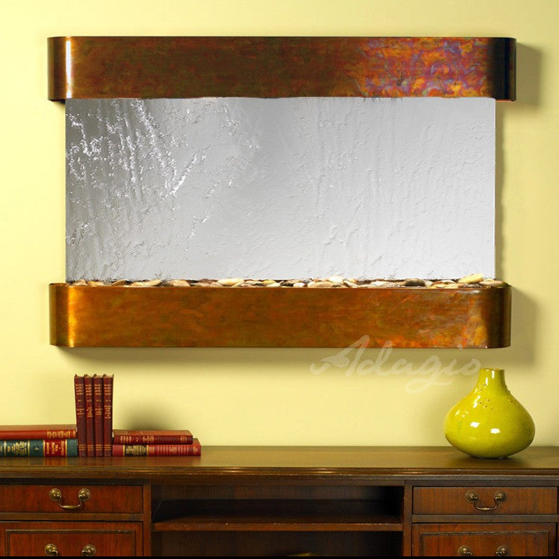 Sunrise Springs - Silver Mirror - Rustic Copper - Rounded Corners - Soothing Walls
