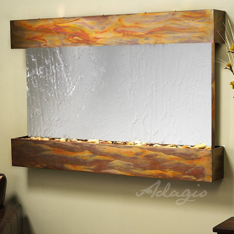 Sunrise Springs - Silver Mirror - Rustic Copper - Squared Corners - Soothing Walls