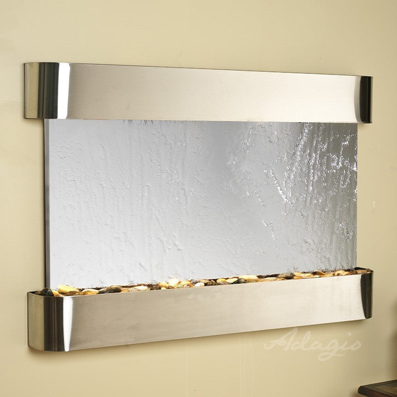 Sunrise Springs - Silver Mirror - Stainless Steel - Rounded Corners - Soothing Walls