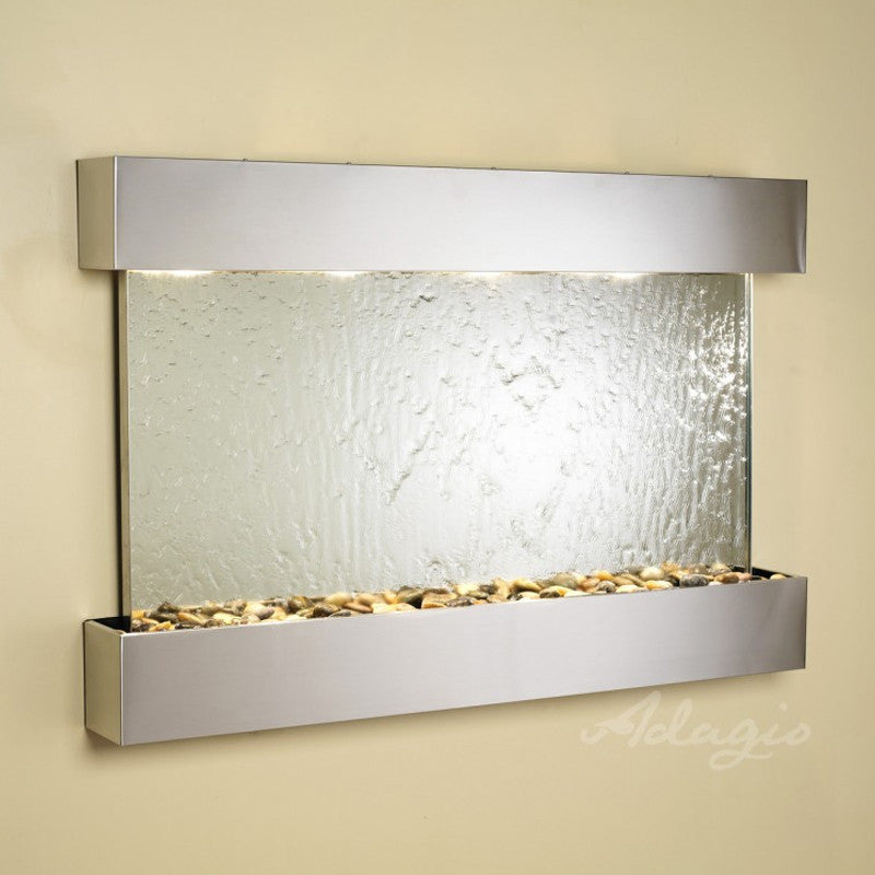 Sunrise Springs - Silver Mirror - Stainless Steel - Squared Corners - Soothing Walls