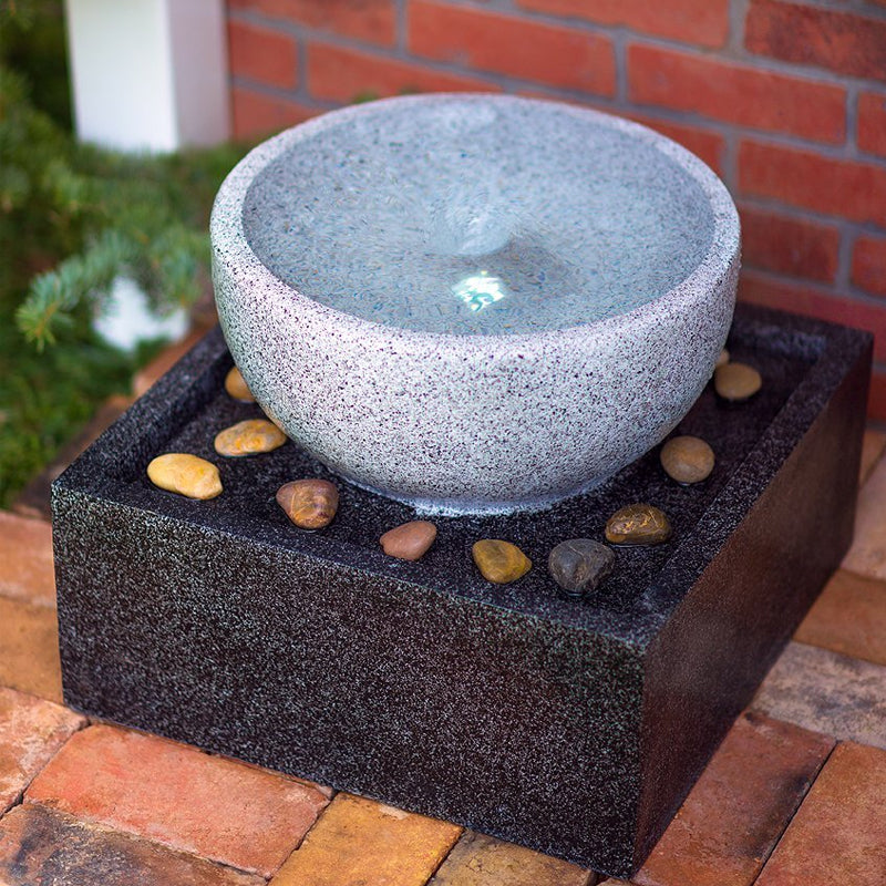 Tenaya Granite Vortex Fountain with LED Lights- Soothing Walls