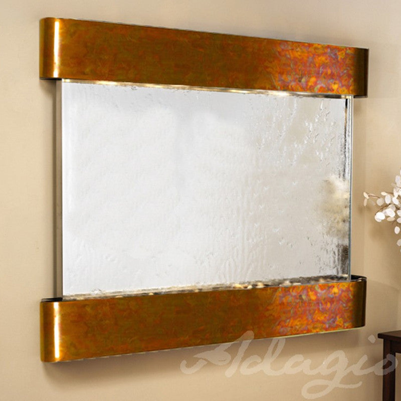 Teton Falls: Silver Mirror and Rustic Copper Trim with Rounded Corners