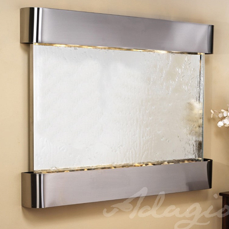 Teton Falls - Silver Mirror - Stainless Steel - Rounded Corners -Soothing Walls