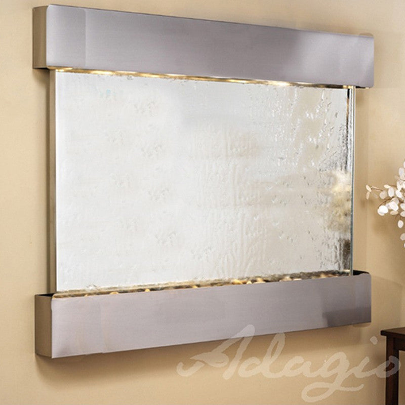 Teton Falls: Silver Mirror and Stainless Steel Trim with Squared Corners