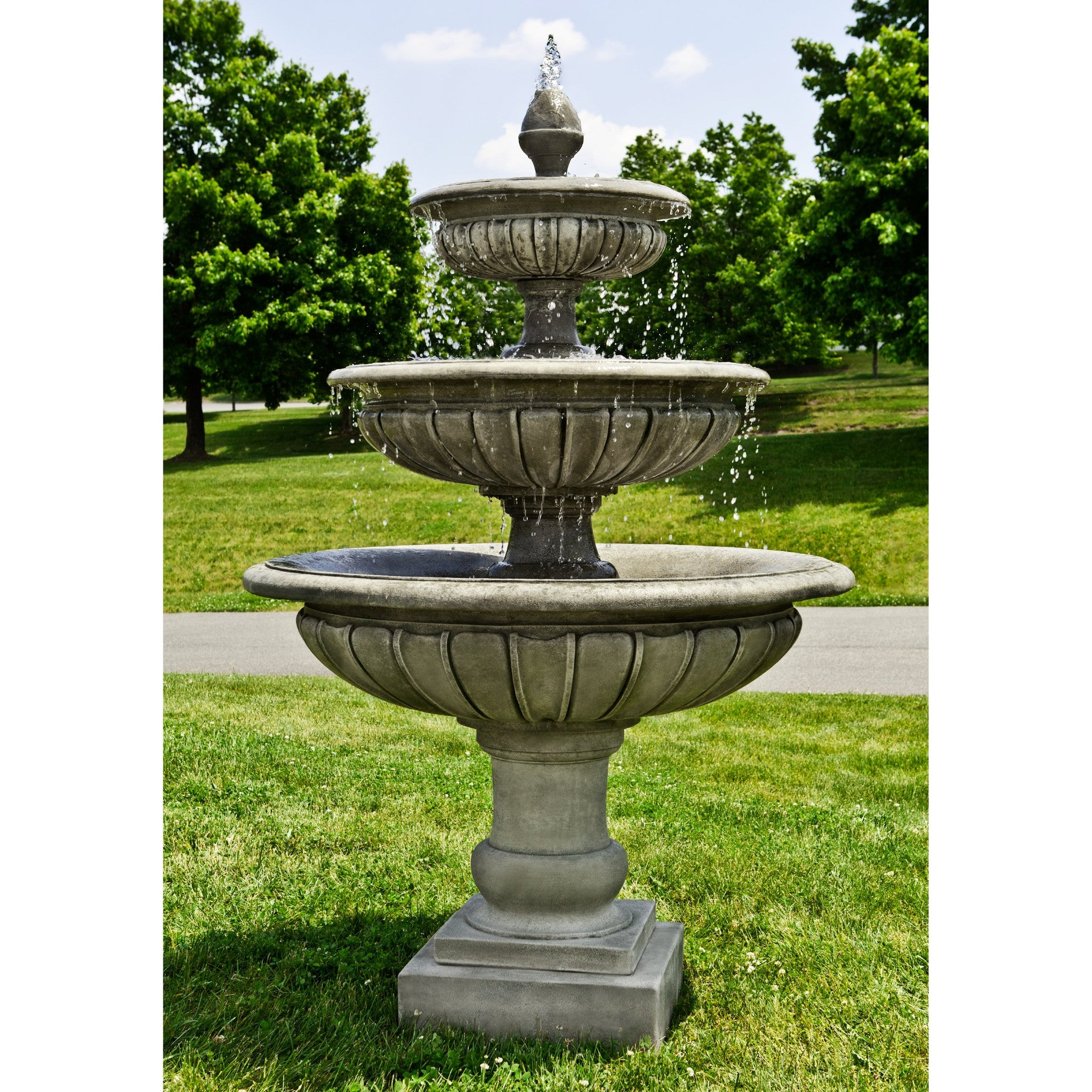 Three Tier Longvue Outdoor Water Fountain - Soothing Walls
