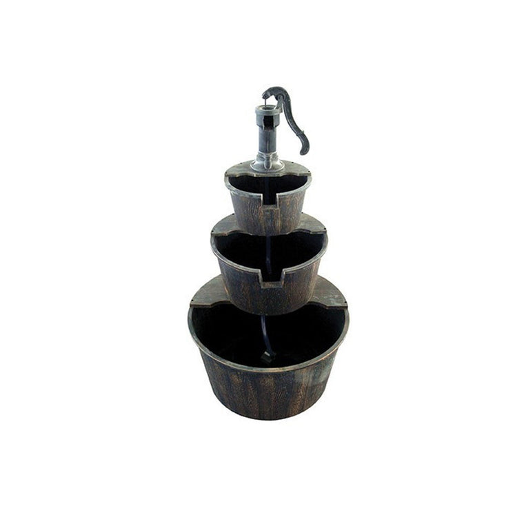 Three Tier Pump & Barrels Fountain - Brown - Soothing Walls