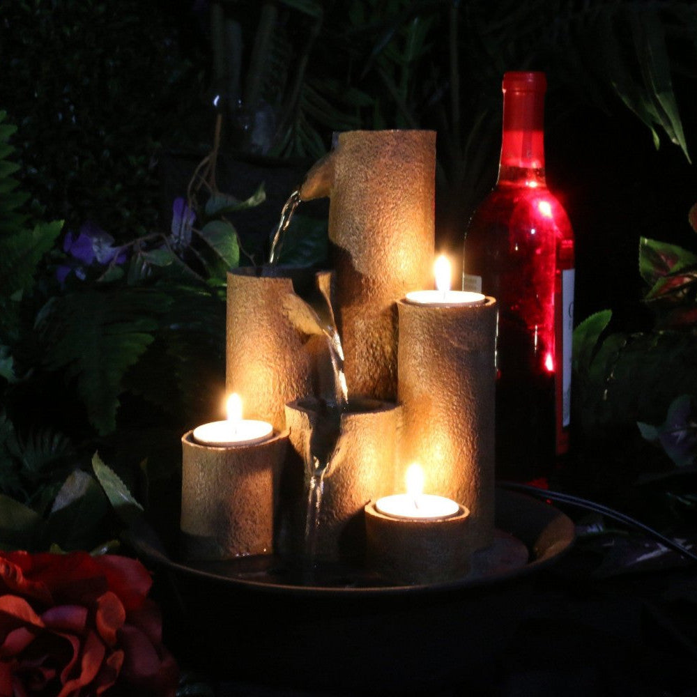 Tiered Column Tabletop Fountain With Candles - Soothing Walls