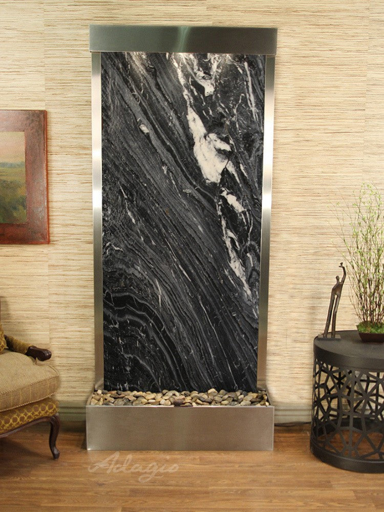 Tranquil River (Flush Mounted Towards Rear Of The Base) - Black Spider Marble - Stainless Steel - Soothing Walls