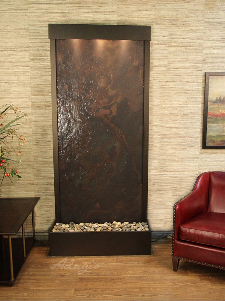 Tranquil River (Flush Mounted Towards Rear Of The Base) - Multi-Color FeatherStone - Antique Bronze - Soothing Walls