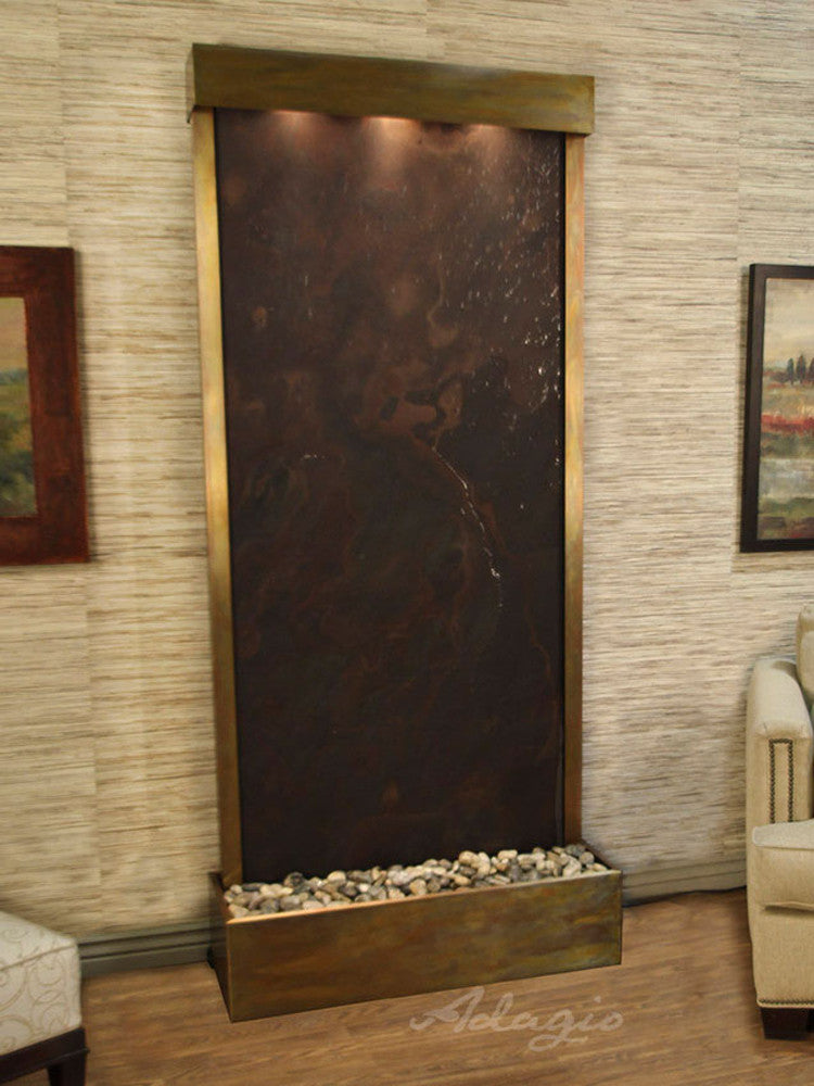 Tranquil River (Flush Mounted Towards Rear Of The Base) - Multi-Color FeatherStone - Rustic Copper - Soothing Walls