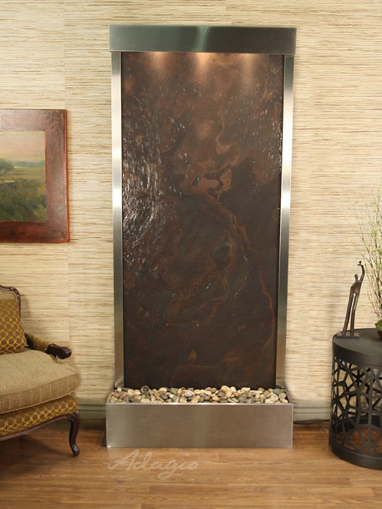 Tranquil River (Flush Mounted Towards Rear Of The Base) - Multi-Color FeatherStone - Stainless Steel - Soothing Walls