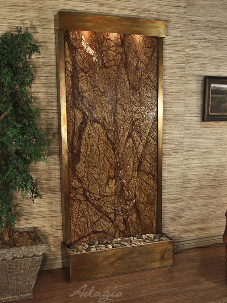 Tranquil River (Flush Mounted Towards Rear Of The Base) - Rainforest Brown Marble - Rustic Copper - Soothing Walls