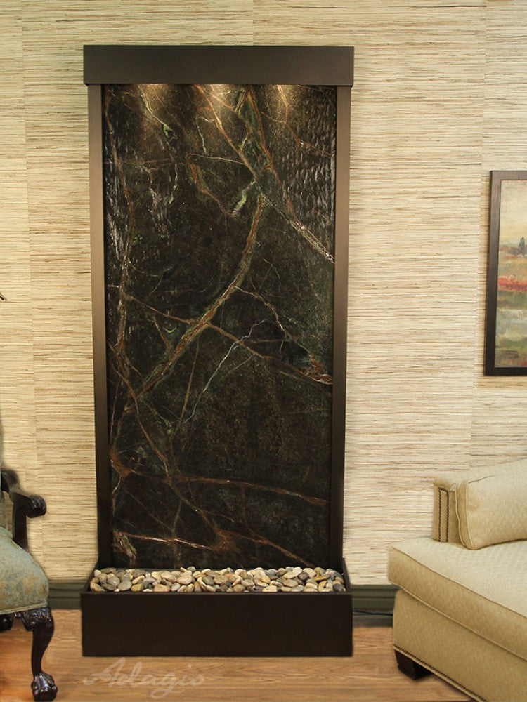 Tranquil River (Flush Mounted Towards Rear Of The Base) - Rainforest Green Marble - Antique Bronze - Soothing Walls