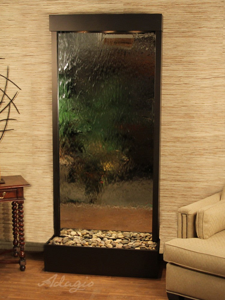 Tranquil River (Flush Mounted Towards Rear Of The Base) - Silver Mirror - Antique Bronze - Soothing Walls