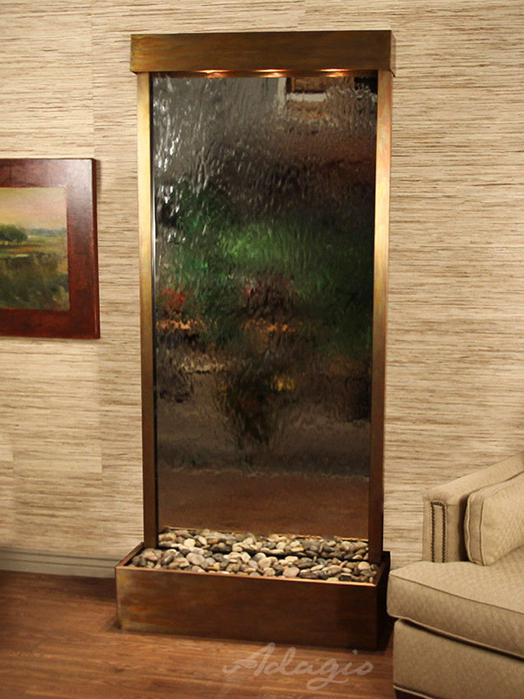 Tranquil River (Flush Mounted Towards Rear Of The Base) - Silver Mirror - Rustic Copper - Soothing Walls