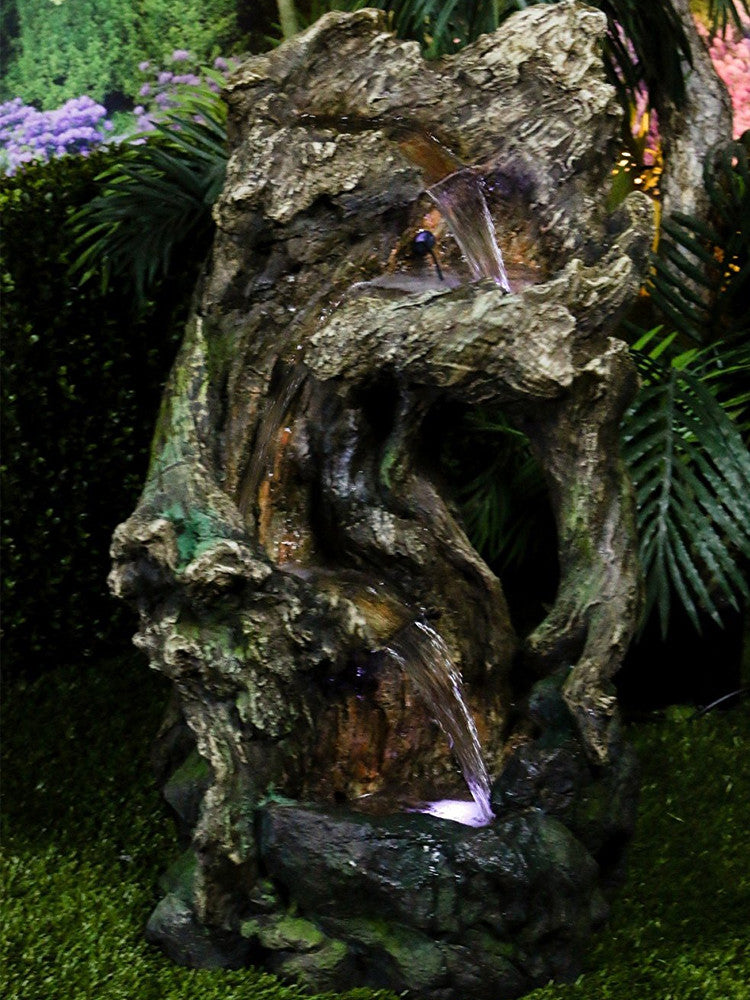 Polyresin Nature Fountain with LED Lights - Soothing Walls