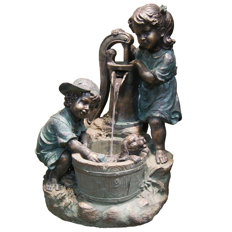 Old Fashioned Pump with Two Kids - Soothing Walls
