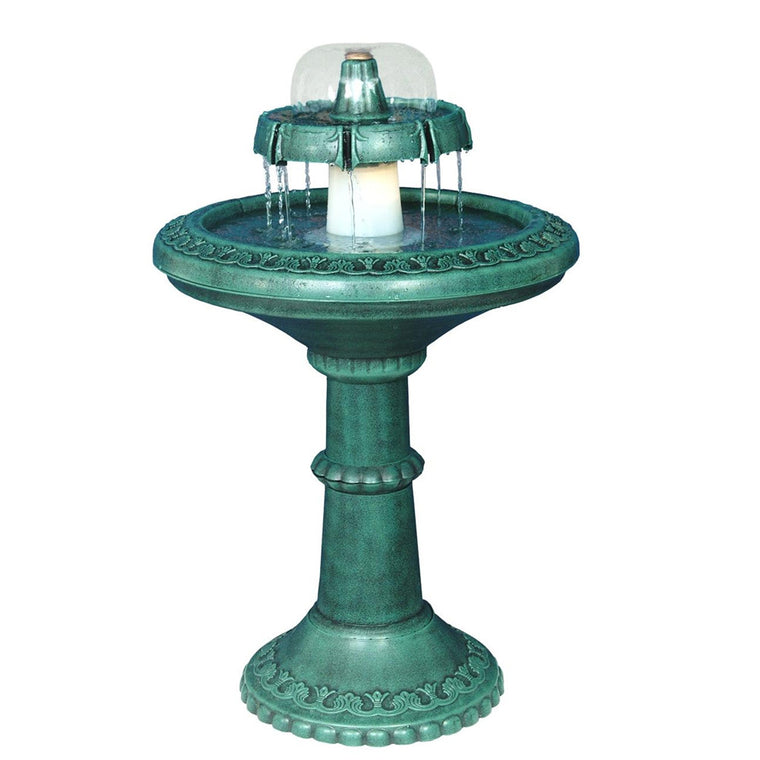 Tiered Bird Bath Fountain with Light - Soothing Walls